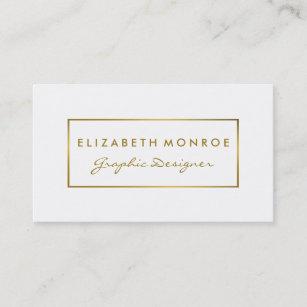 Carte De Visite Effet simple de blanc et de feuille d'or