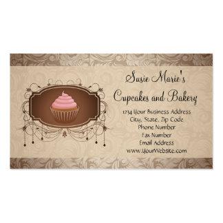 Carte de visite élégant de petit gâteau de damassé