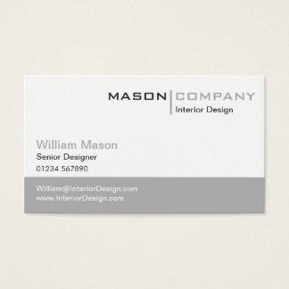 Carte de visite élégant gris et blanc simple