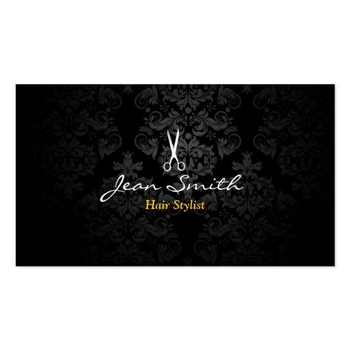 Carte de visite foncé élégant de coiffeur de damas