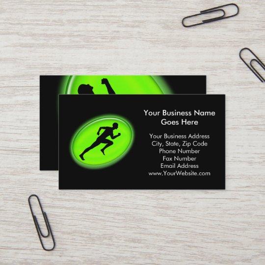 Carte De Visite Forme Physique Verte Lueur Et Logo Personnel