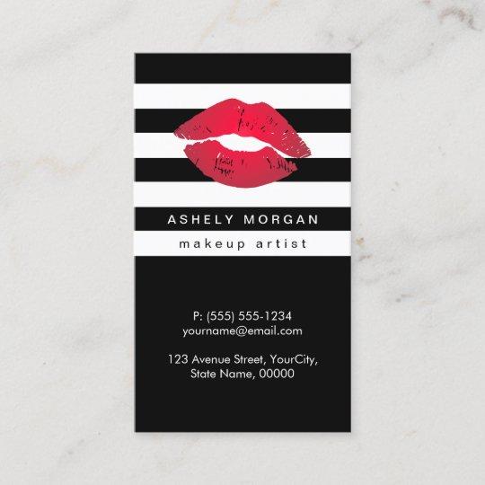 Carte De Visite Lvres Rouges Maquillage Moderne