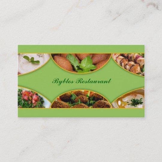 Carte De Visite Libanais Arabe Nourriture
