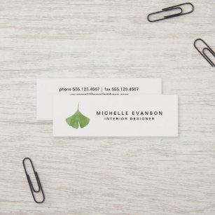 Carte De Visite Mini Nature Verte Simple Feuille Ginkgo