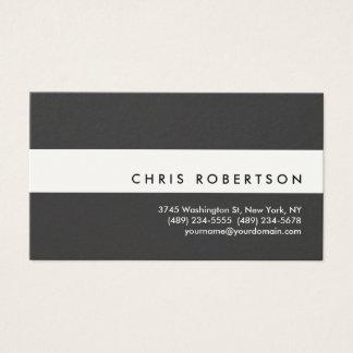 Carte de visite moderne gris-foncé blanc attrayant