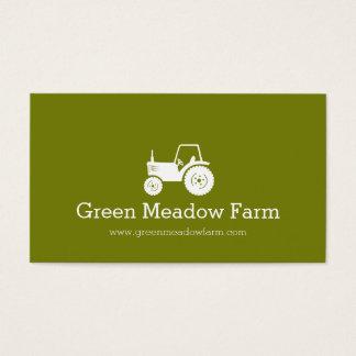 Carte de visite moderne vert blanc de ferme de