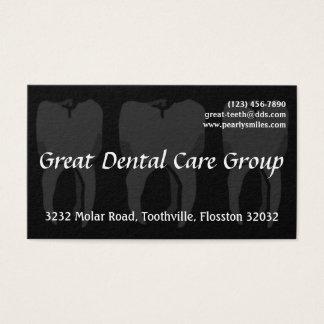 Carte de visite noir de dentiste de trois dents