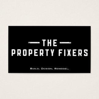 Carte de visite noir de fixateurs de propriété