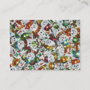 Carte De Visite Potele Blanc Bonhommes Neige Modele Doux