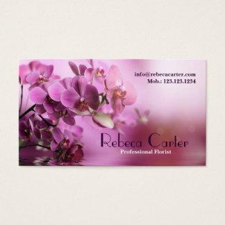 Carte de visite pourpre d'orchidée de fleuriste