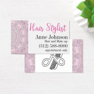 carte de visite rose de mandala de coiffeur