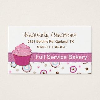 Carte de visite rose de petit gâteau de