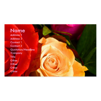 Carte de visite rouge de l'artiste I de rose jaune