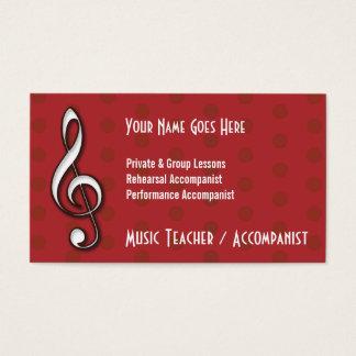 Carte de visite rouge de professeur de musique de