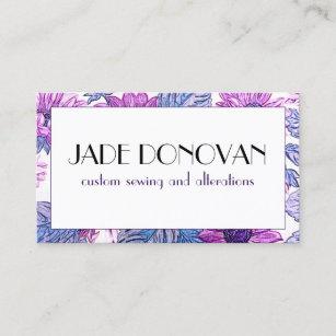 Carte De Visite Tissu Textile Pourpre Floral Faux Fleur