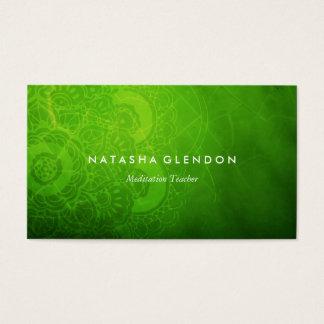 Carte de visite vert de zen de mandala de feuille
