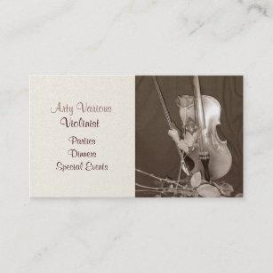 Carte De Visite Violon Vintage Et Roses