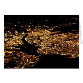 Carte de voeux aérienne de nuit de métro de New