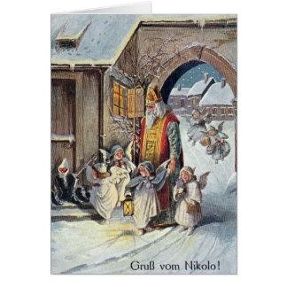 Carte de voeux allemande de Noël de St Nikolas de