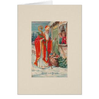 Carte de voeux allemande vintage de Saint-Nicolas