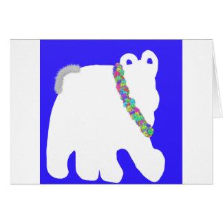 Carte de voeux blanche confortable de blanc d'ours