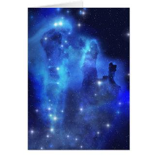 Carte de voeux bleue de nuage de l'espace