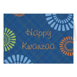Carte de voeux bleue gaie de Kwanzaa de plaid