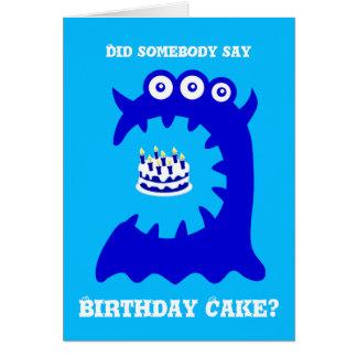Carte de voeux bleue mignonne d'anniversaire de