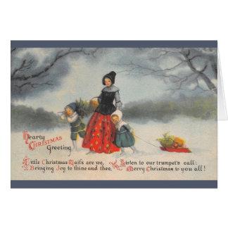 Carte de voeux chaleureuse vintage de Noël