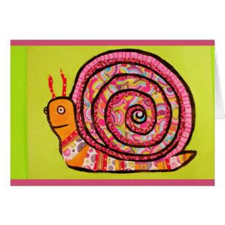 Carte de voeux colorée et d'amusement d'escargot