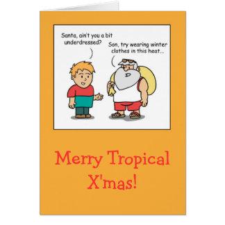 Carte de voeux comique tropicale drôle de Noël de