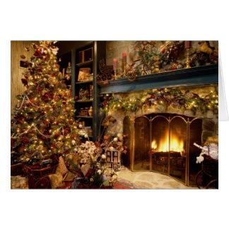 Carte de voeux confortable de blanc de Noël
