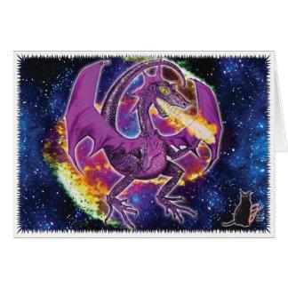 Carte de voeux cosmique de dragon de Tourmaline