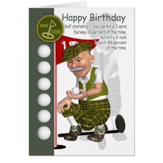 Carte de voeux d anniversaire de golfeur avec l hu