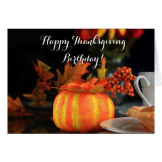 Carte de voeux d'anniversaire de bon thanksgiving