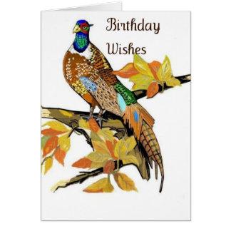 carte de voeux d'anniversaire de faisan