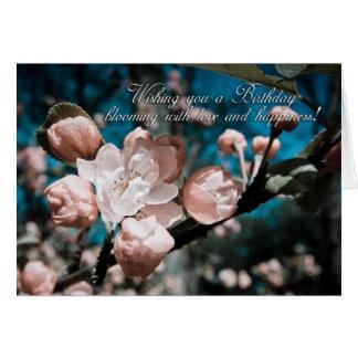 carte de voeux d'anniversaire de fleur de pomme