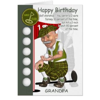 Carte de voeux d'anniversaire de golfeur de grand-