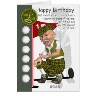 Carte de voeux d'anniversaire de golfeur de patron