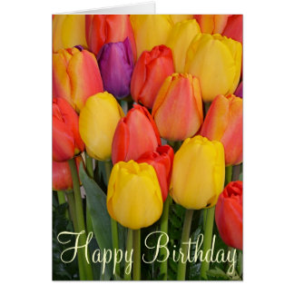 Carte de voeux d'anniversaire de tulipes de