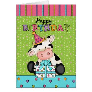 Carte de voeux d'anniversaire de vache