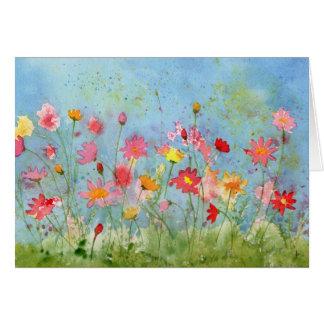 Carte de voeux d'aquarelle de jardin de cosmos