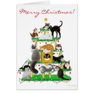 Carte de voeux d'arbre de chat de Noël