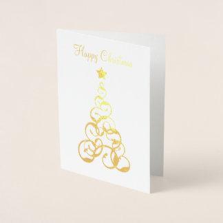 Carte de voeux d'arbre de Noël de feuille d'or