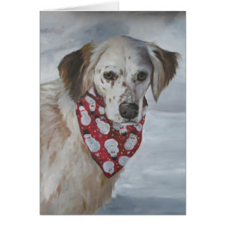 Carte de voeux d'art de chien de poseur anglais