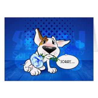 Carte de voeux de bande dessinée de bull-terrier