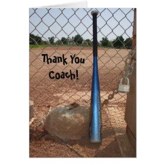 Carte de voeux de base-ball d'entraîneur de Merci