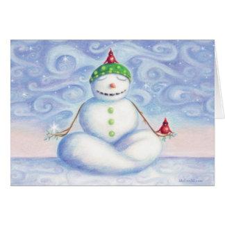 Carte de voeux de bonhomme de neige de yoga par
