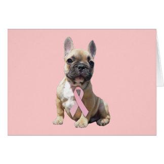 Carte de voeux de cancer du sein de bouledogue