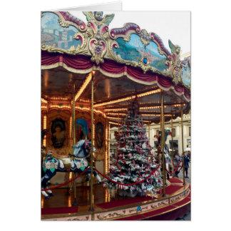 Carte de voeux de carrousel de Noël